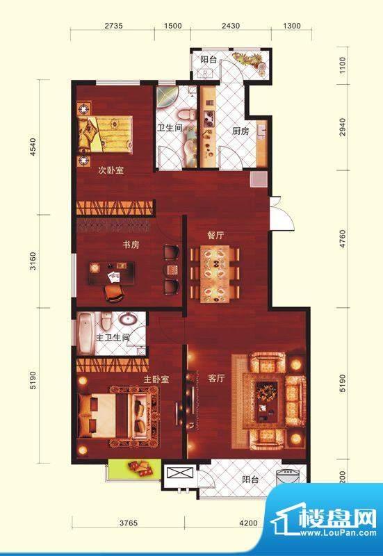 云河墅3居户型 3室2厅1卫1厨面积:118.00平米