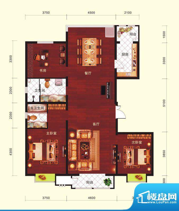 云河墅3居户型 3室2厅2卫1厨面积:170.00平米