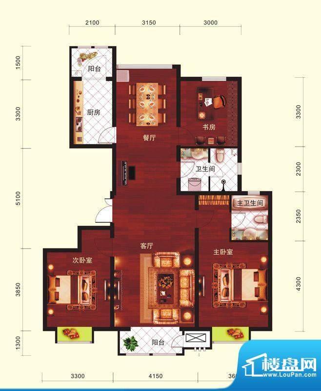 云河墅3居户型 3室2厅2卫1厨面积:146.00平米