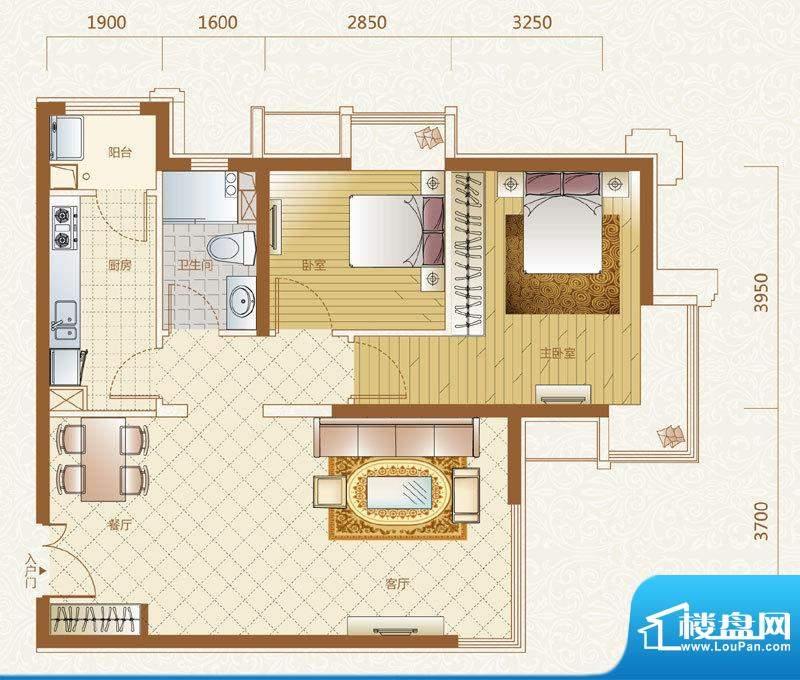 富力金禧花园A户型 2室2厅2卫1面积:89.00平米
