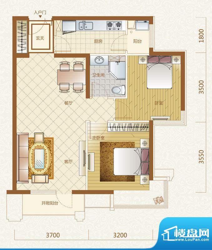 富力金禧花园B户型 2室2厅1卫1面积:90.00平米