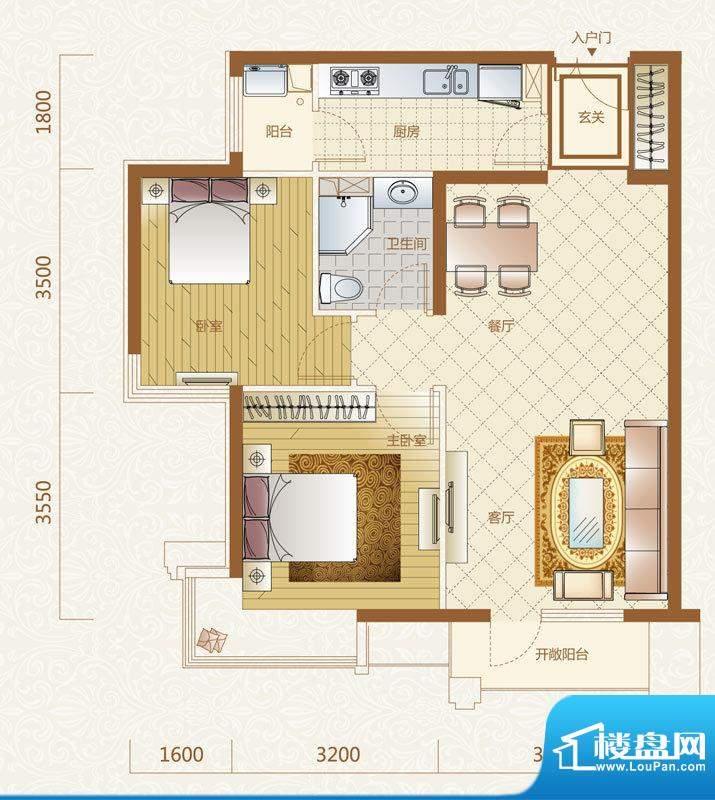 富力金禧花园C户型 2室2厅1卫1面积:90.00平米