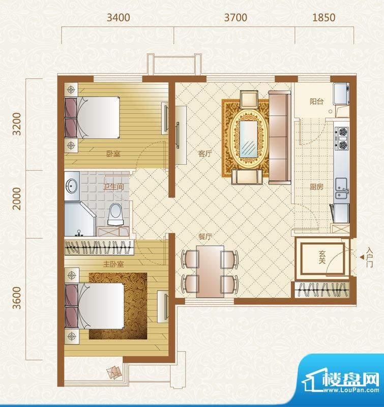 富力金禧花园D户型 2室2厅1卫1面积:89.00平米