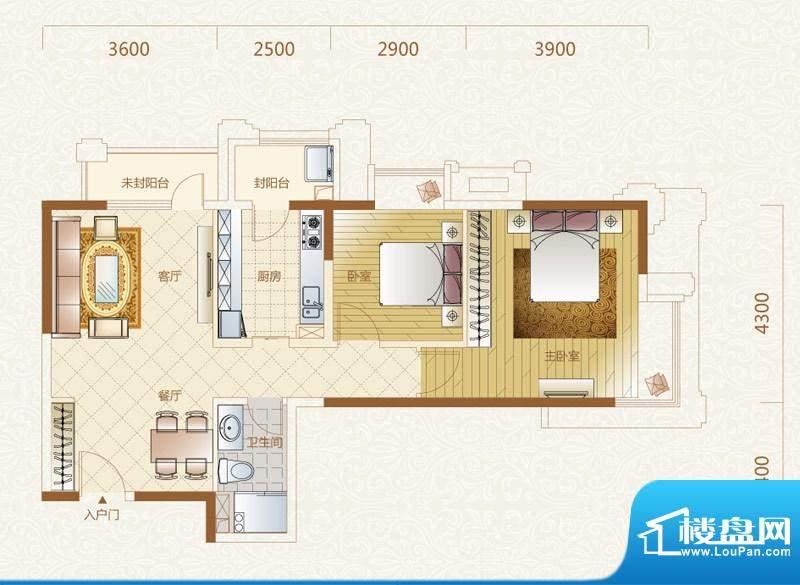 富力金禧花园5号楼A户型 2室2厅面积:88.00平米