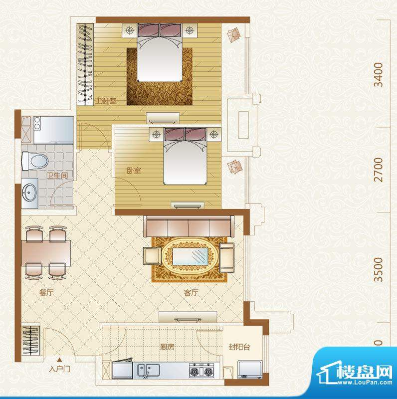 富力金禧花园5号楼B户型 2室2厅面积:88.00平米