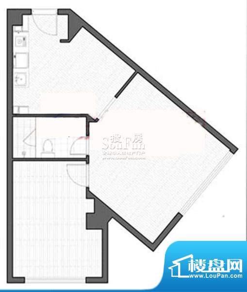 智地·钻河公馆F户型 1室1厅1卫