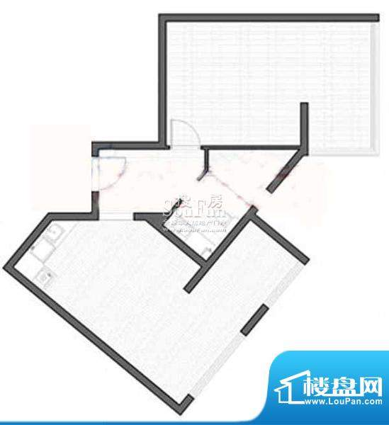 智地·钻河公馆D1户型 1室1厅1