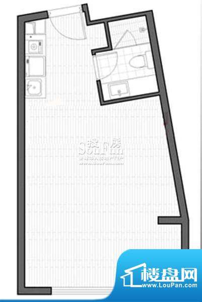 智地·钻河公馆E2户型 1室1厅1