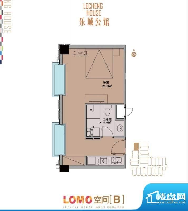 乐城公馆B户型图 1室1卫1厨面积:54.00平米