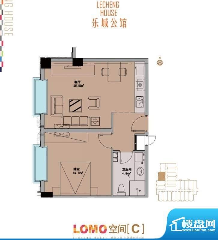 乐城公馆C户型图 1室1厅1卫1厨面积:83.00平米