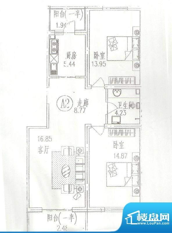 东林苑二居户型图 2室2厅1卫1厨面积:94.00平米