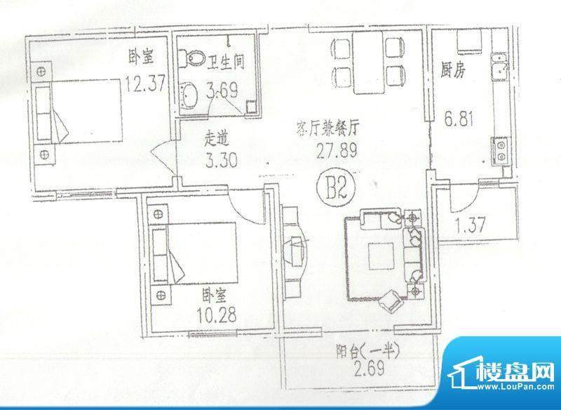 东林苑二居户型图 2室2厅1卫1厨面积:92.00平米
