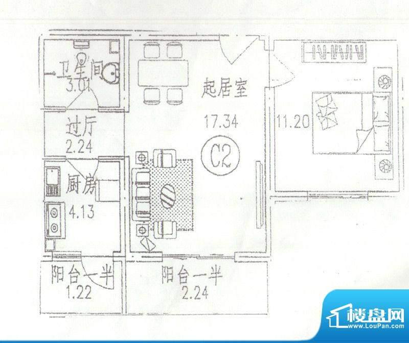 东林苑一居户型图 1室2厅1卫1厨面积:60.00平米