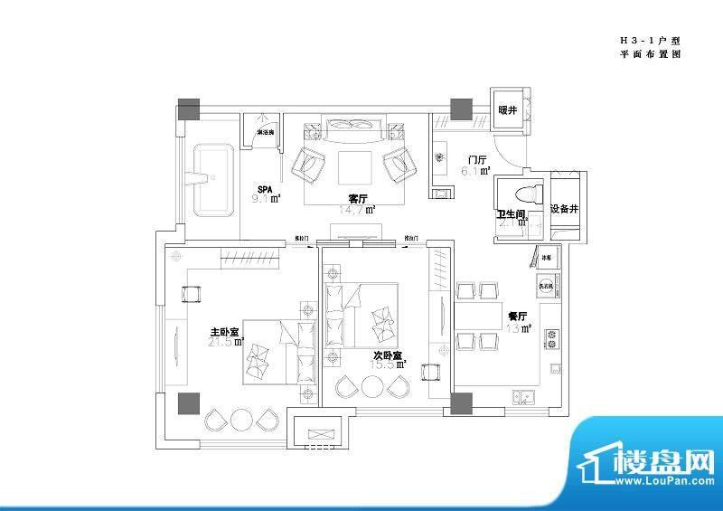 玫瑰温泉酒店H3-1户型平米平面面积:120.54平米