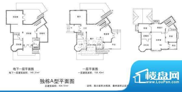 欧郡香水城独栋A户型图 7室5厅面积:434.51平米