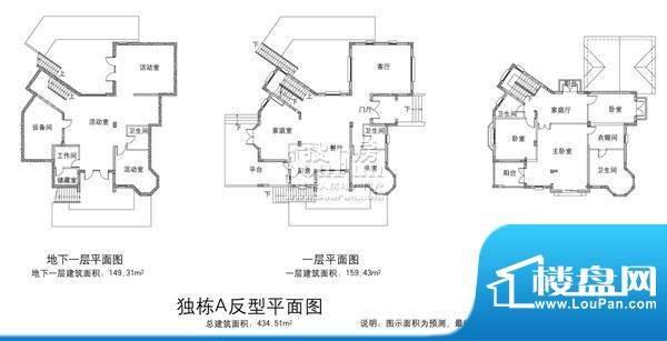 欧郡香水城独栋A反户型图 7室5面积:434.51平米