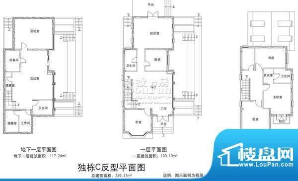 欧郡香水城独栋C反户型图 9室3面积:326.21平米
