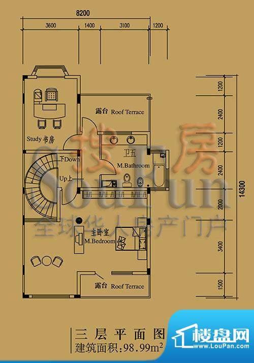 檀香山别墅A16三层户型图 2室1面积:98.99平米