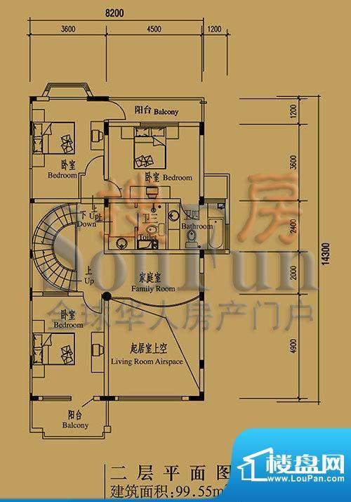 檀香山别墅A16二层户型图 3室1面积:99.55平米