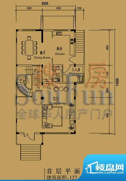 檀香山别墅A16首层户型图 1室2面积:127.96平米