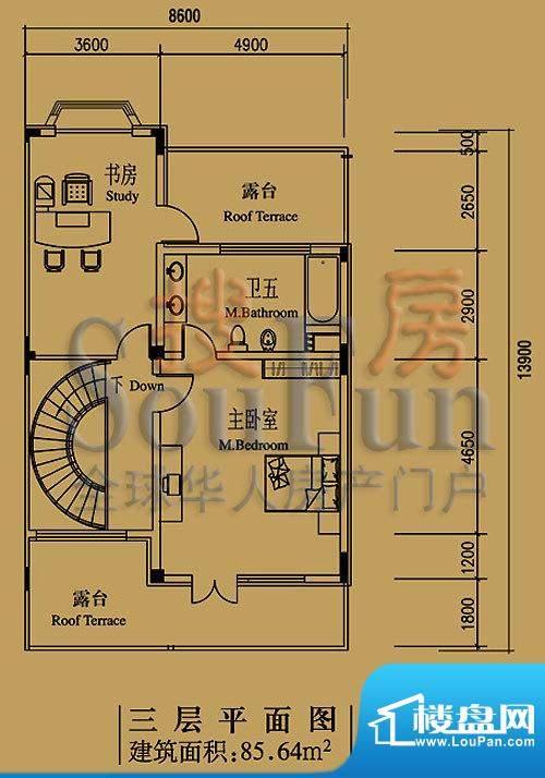 檀香山别墅A5三层户型 2室1卫面积:85.64平米