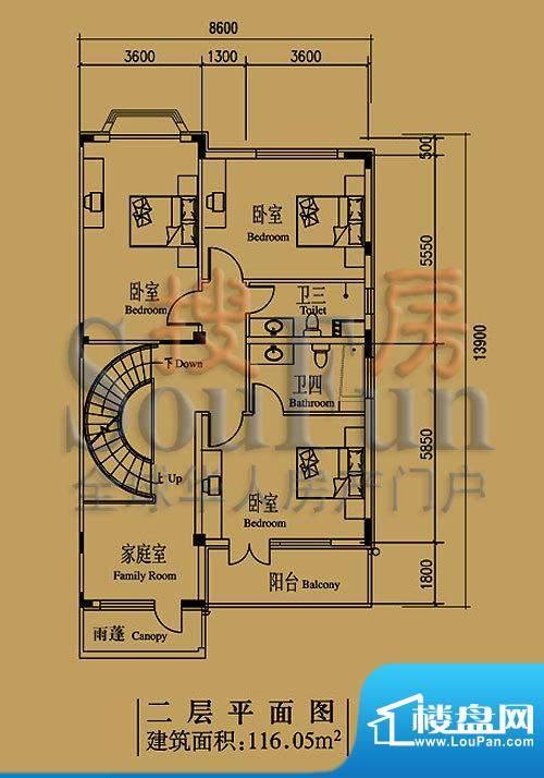 檀香山别墅A5二层户型 面积:116.05平米