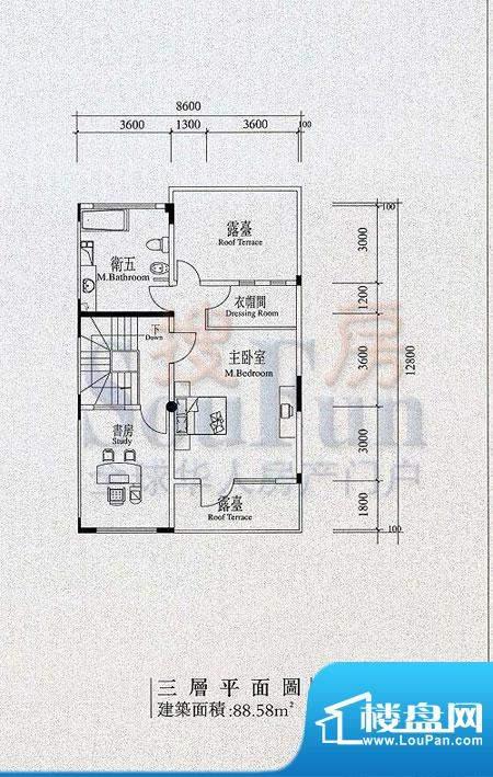 檀香山别墅B2三层户型 面积:88.58平米