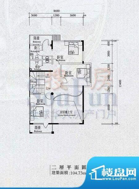 檀香山别墅B2二层户型 面积:104.73平米