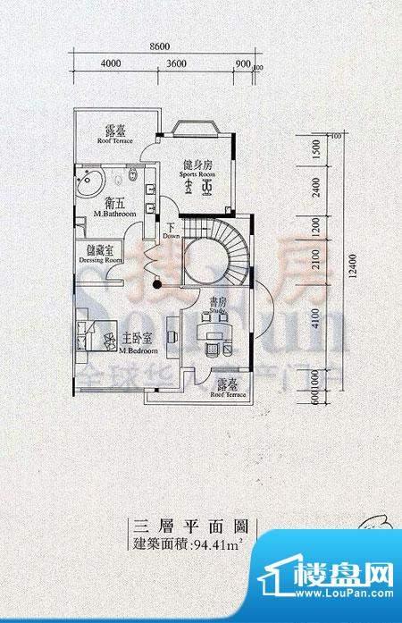 檀香山别墅B1三层户型 面积:94.41平米