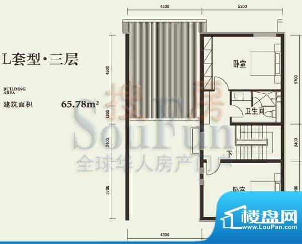 燕西台L三层户型图 2室1卫面积:65.78平米