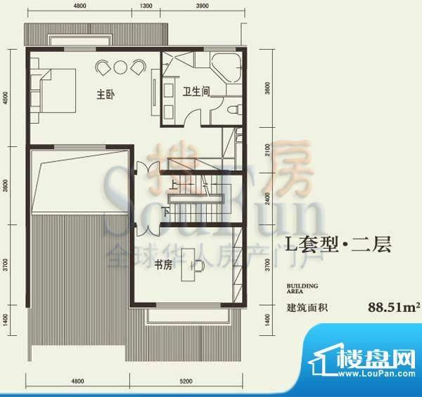 燕西台L二层户型图 2室1卫面积:88.51平米