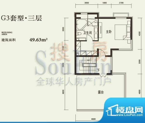 燕西台G3三层户型图 1室1卫面积:49.63平米