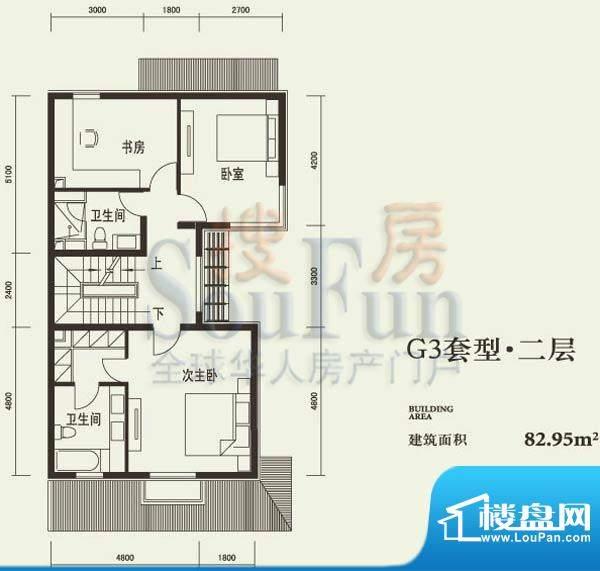 燕西台G3二层户型图 3室2卫面积:82.95平米