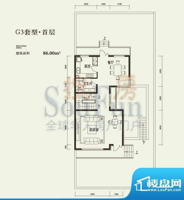 燕西台G3首层户型图 3厅1卫1厨面积:86.00平米
