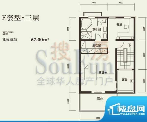 燕西台F三层户型图 3室1卫面积:67.00平米