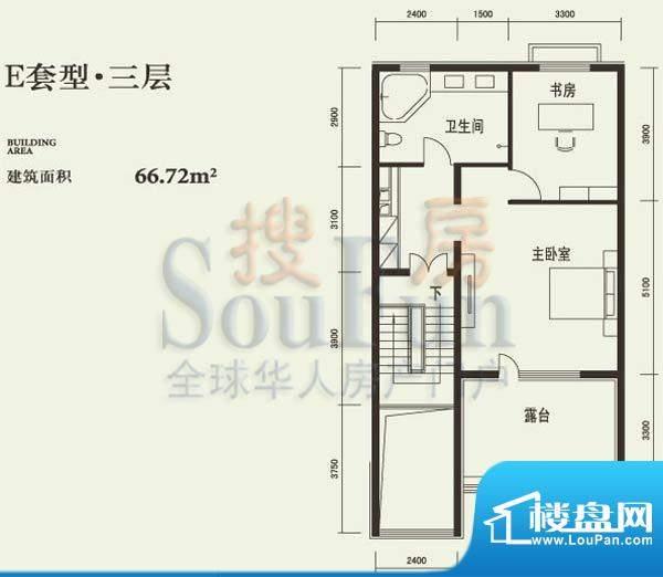 燕西台E三层户型图 2室1卫面积:66.72平米