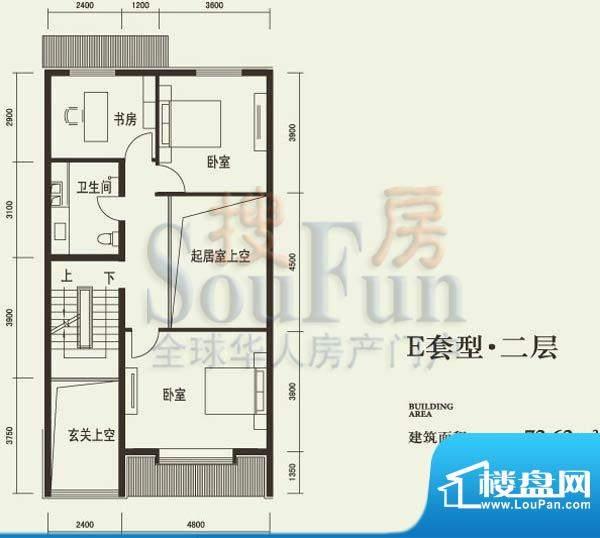 燕西台E二层户型图 3室1卫面积:72.62平米