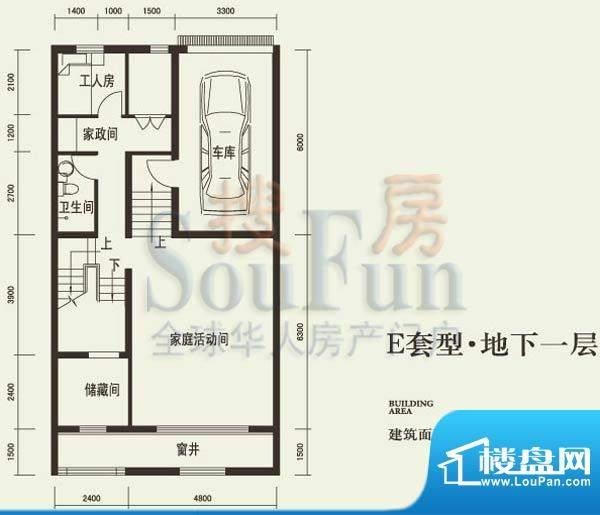 燕西台E地下层户型图 3室1厅1卫面积:91.49平米