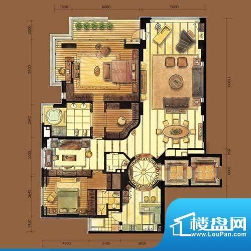 Naga上院D户型 2室2厅3卫1厨面积:302.36平米