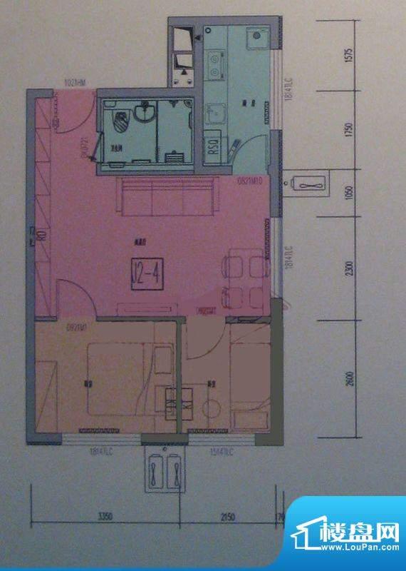 海淀区吴家场项目B5-1户型图 2面积:67.84平米