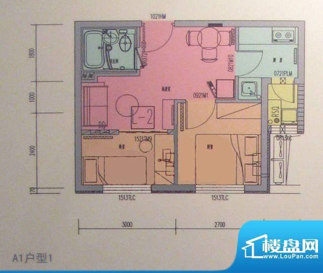 海淀区吴家场项目A1户型图 2室面积:67.84平米