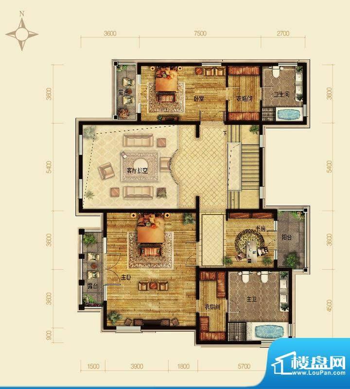 天恒·半山世家I户型2层 4室2厅面积:161.55平米