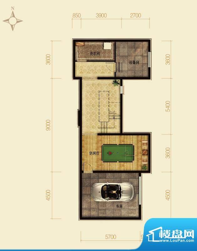 天恒·半山世家I户型半地下 4室面积:102.89平米