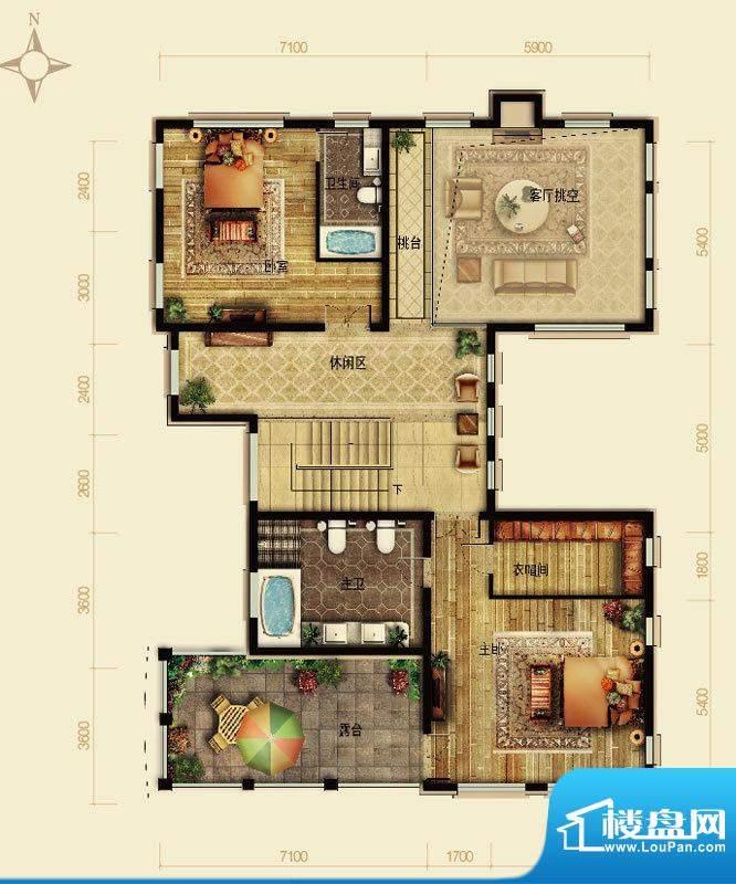 天恒·半山世家J户型2层 4室2厅面积:146.10平米