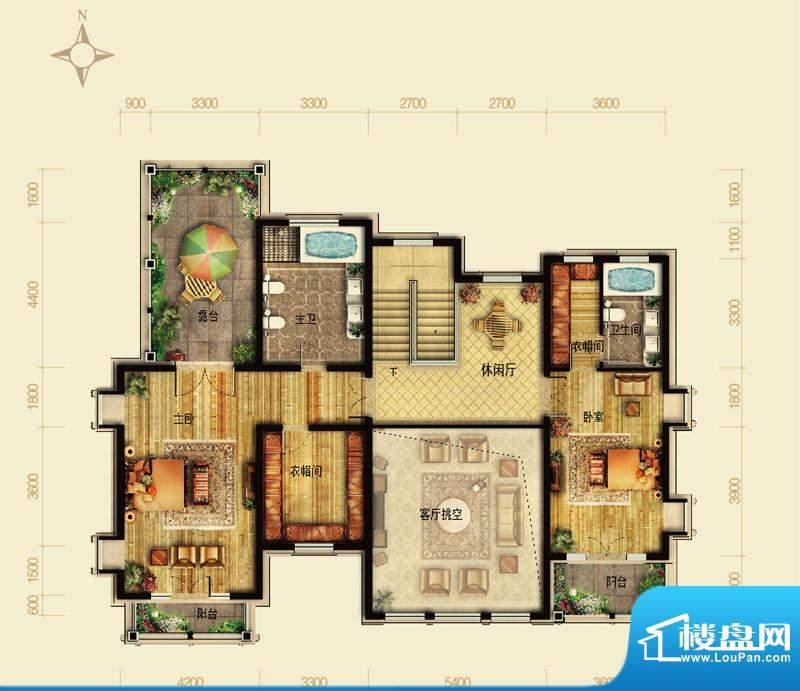 天恒·半山世家K户型二层 4室2面积:133.99平米