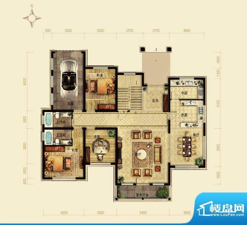 天恒·半山世家K户型首层 4室2面积:195.05平米
