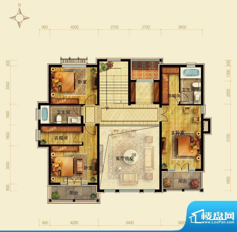 天恒·半山世家M户型2层 5室2厅面积:115.41平米