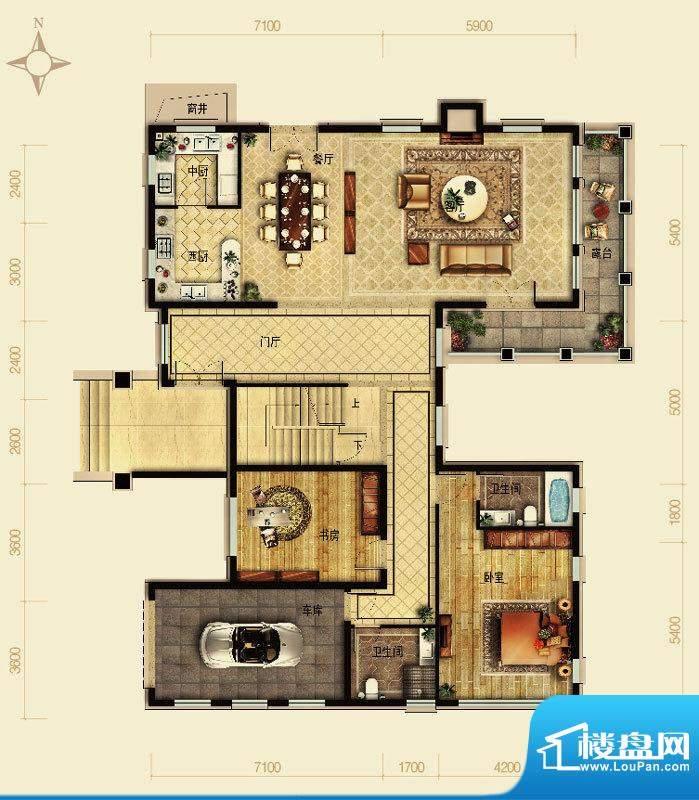 天恒·半山世家M户型地下 5室2面积:144.79平米