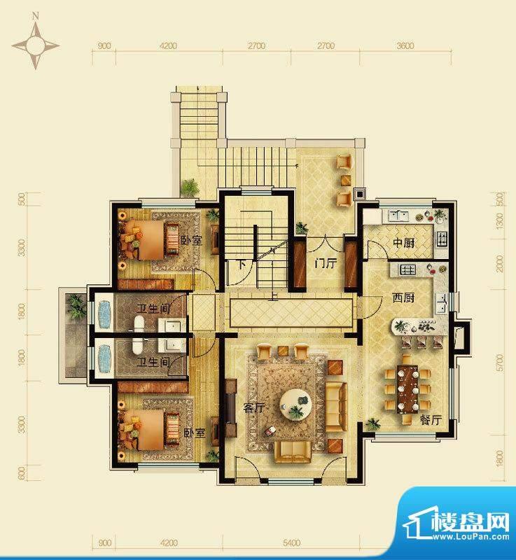 天恒·半山世家M户型首层 5室2面积:150.28平米