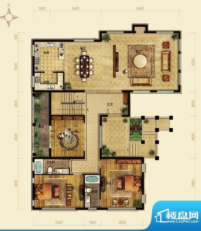 天恒·半山世家P户型首层 4室2面积:231.12平米